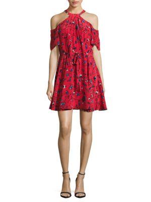Cold Shoulder Floral-Print Silk Dress by Shoshanna