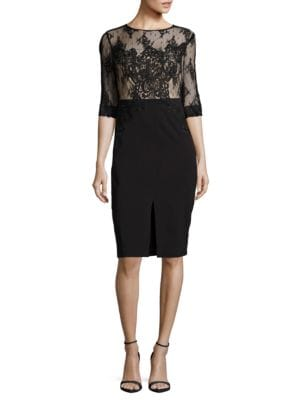 Jewelneck Embroidered Lace Dress by JAX