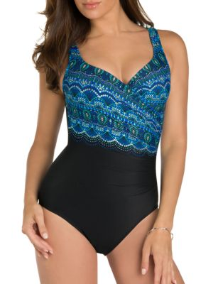 One-Piece Oceanus Ruched Swimsuit by Miraclesuit Plus