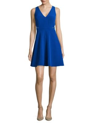 Lace Accented Fit-and-Flare Dress by Aidan Aidan Mattox