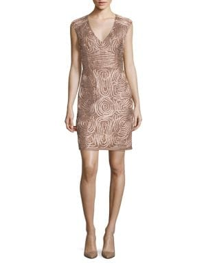 Soutache Embroidered Sheath Dress by Aidan Aidan Mattox