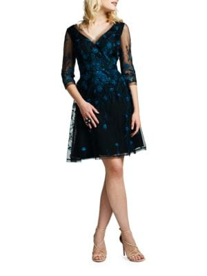 Embroidered Tulle Fit-and-Flare Cocktail Dress by Kay Unger
