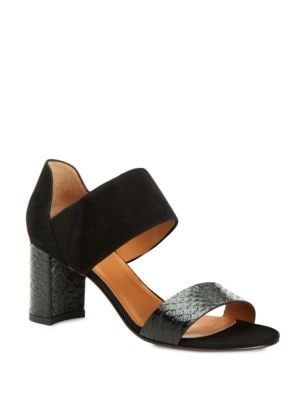Suzanne Suede & Snake-Embossed Leather Block Heel Sandals by Aquatalia