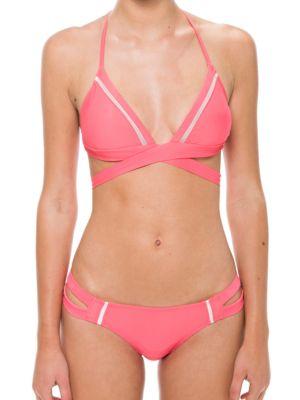 Halterneck Wrap Bikini Top by 6 Shore Road
