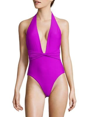 The Sea Solid Halterneck One-Piece Swimsuit by 6 Shore Road