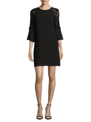 Lace-Accented Bell Sleeve Dress by Belle Badgley Mischka