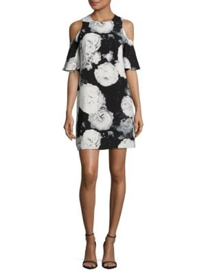 Floral Cold-Shoulder Dress by Calvin Klein