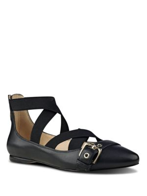 Leather-Blend Strappy Flats by Nine West