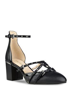 Photo of Abla Almond Toe Leather Pumps by Nine West - shop Nine West shoes sales
