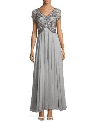 Embellished Chiffon Column Gown by J Kara