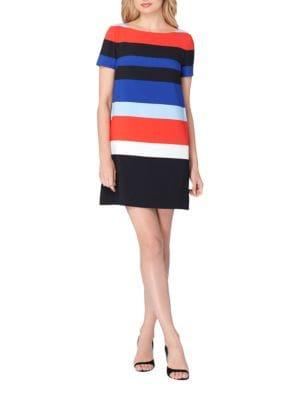Wide Striped Print Crepe Shift Dress by Tahari Arthur S. Levine