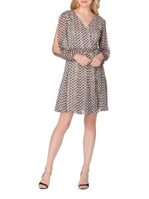 Split Sleeve Printed Faux Wrap Chiffon Dress by Tahari Arthur S. Levine