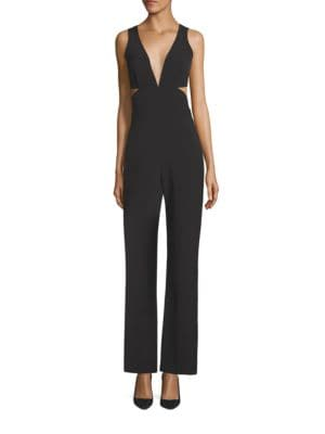 Plunging V-Neck Peek-a-Boo Jumpsuit by Laundry by Shelli Segal