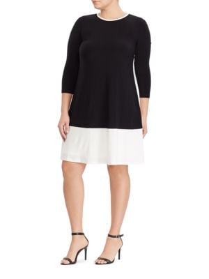 Plus Two-Toned Jersey Dress by Lauren Ralph Lauren