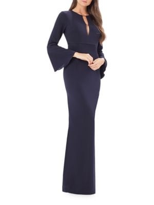 Solid V-Neck Gown by Vera Wang