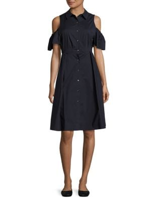 Button Front Cold Shoulder Dress by Ivanka Trump