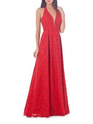 Halter Floral Lace Gown by Js Collections
