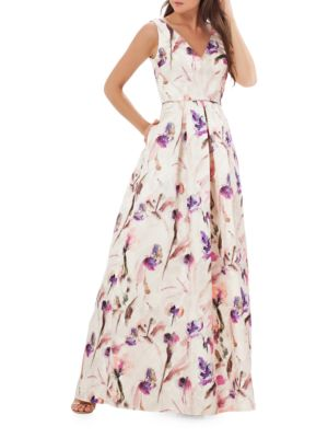 Floral Printed Pleated Gown by Js Collections