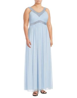 Plus Beaded Chiffon Gown by Decode 1.8