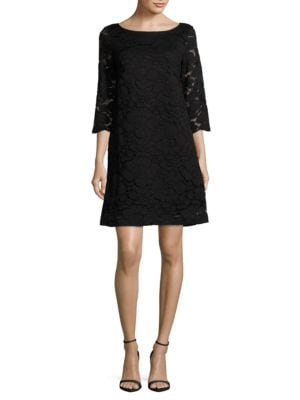 Three-Quarter-Sleeve Lace A-Line Dress by Karl Lagerfeld Paris