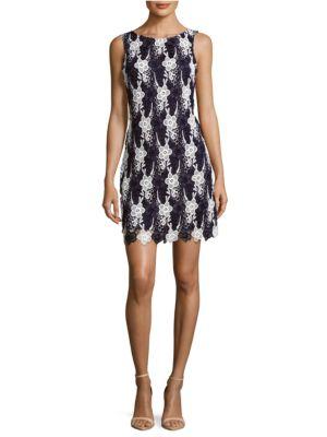 Jewelneck Sleeveless Lace Dress by Taylor