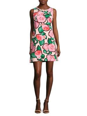 Sleeveless Rose-Print Dress by Basix