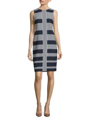 Jewelneck Sleeveless Striped Dress by Taylor