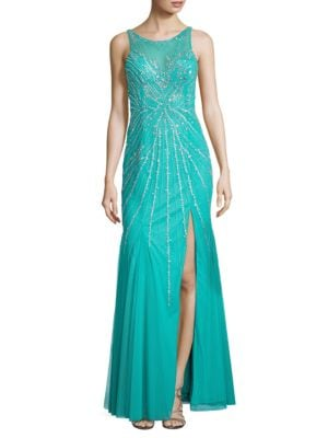 Lattice Back Beaded Gown by Sean Collections