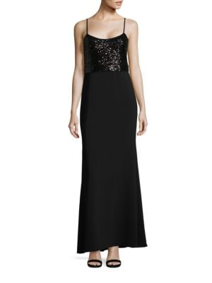 Sequined Sleeveless Gown by Belle Badgley Mischka