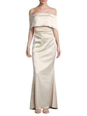 Off-the-Shoulder Satin Trumpet Gown by Vince Camuto