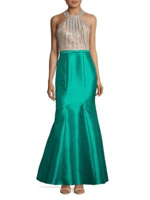 Embellished Halter Mermaid Gown by Xscape