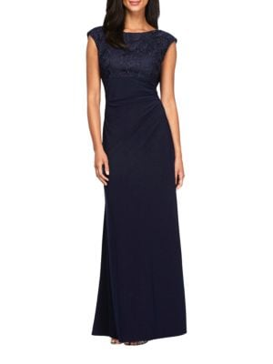 Embroidered Cap Sleeve Gown by Alex Evenings