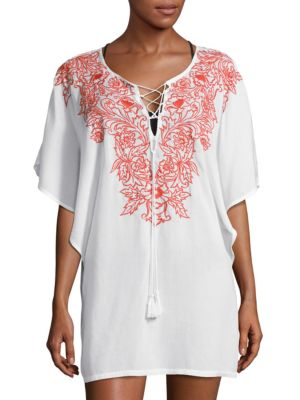 Embroidered Floral Cover-Up Tunic by Amita Naithani