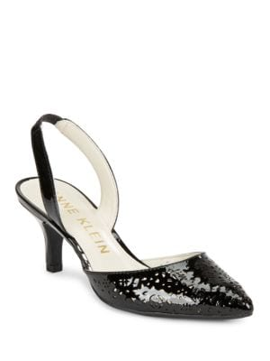 Fabrizia Perforated Patent Leather Slingback Pumps by Anne Klein