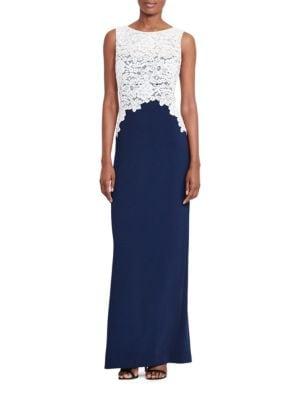 Lace Bodice Crepe Gown by Lauren Ralph Lauren