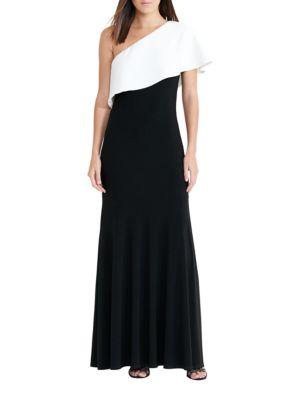 One-Shoulder Contrast Overlay Jersey Gown by Lauren Ralph Lauren