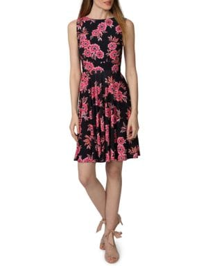 Printed Fit and Flare Dress by Donna Morgan