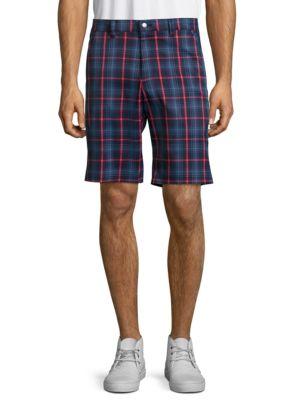 Zipped Plaid Shorts @...