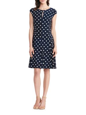 Petite Polka-Dot Jersey Dress by Lauren Ralph Lauren