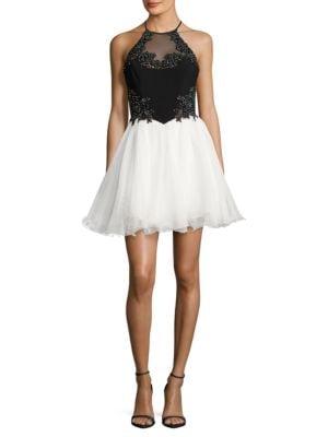 Two-Tone Rhinestone Tulle Halter Dress by Blondie Nites