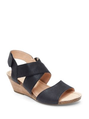 Toree Leather Stacked Wedge Heel Sandals by Me Too