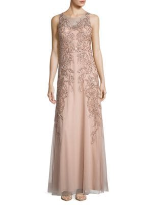 Embellished Sleeveless A-Line Gown by Adrianna Papell