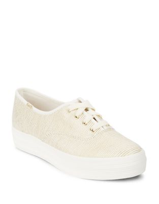 Striped Lace-Up Platform Sneakers by Keds
