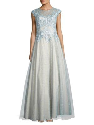 Cap Sleeved Embellished Bodice Gown by Basix