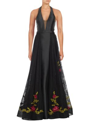 Floral Embellished Hem Ball Gown by Basix