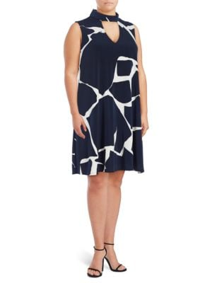 Printed Mockneck Trapeze Dress by Ivanka Trump