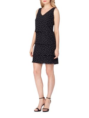 Chiffon Pindot Tiered Shift Dress by Tahari Arthur S. Levine