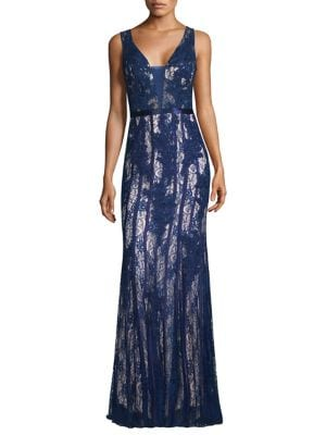Sleeveless V-Neck Embroidered Gown by Basix