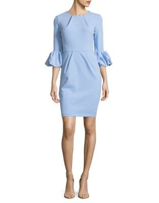 Pleated Bubble Sleeve Sheath Dress by Betsy & Adam