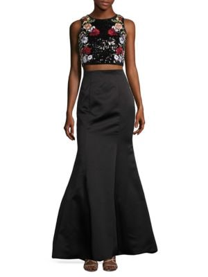 Two Piece Sequined Halter and Skirt Set by Betsy & Adam